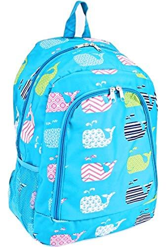 "Nautical Whale Chevron Print 16"" School Backpack"