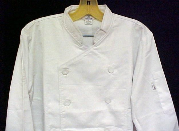 White Chef Coat CIA Culinary Institute America Double Breasted XL Style 9602
