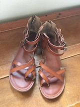 Gently Used Women's American Eagle Outfitters Chesnut Brown Leather Strappy Ankl - $12.19