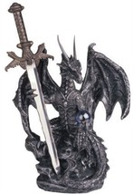 "NEW Dragon With Sword Collectible Fantasy Decoration Figurine - 6.5"" Tall - $30.85"