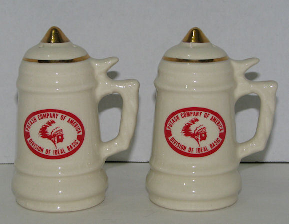 Vintage Advertising Potash Company of America Salt & Pepper Shakers Indian Chief