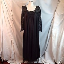 Vtg 60s Lucie Ann Black Nylon Lace Negligee Peignoir Nightgown Robe Butt... - $273.23