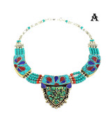 Tibetan Handmade Necklace with Turquoise, Lapis & Coral Inlays - $47.99