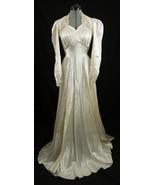 Vintage 1930s Art Deco Liquid Satin Ivory Wedding Dress with Train - $189.99