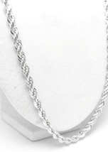 "Sterling Silver 24"" Solid Rope Chain Necklace Long - $79.00"