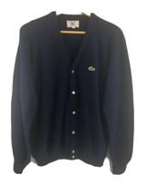Vtg Izod Lacoste Cardigan XL Mens Navy Blue Grandpa Sweater Made in USA - $44.55