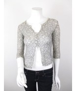 Free People Beige Black Sheer Kid Mohair Blend Cardigan Sweater SIZE SMA... - $37.39