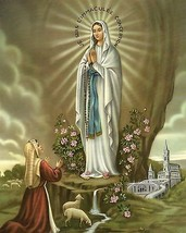 Catholic Print Picture OUR LADY OF LOURDES St. Bernadette & Virgin Mary ... - $14.01