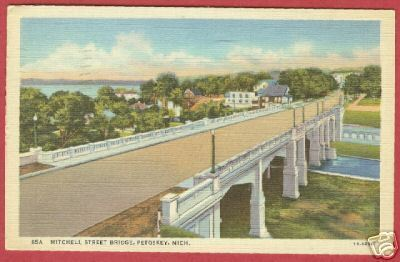 Petoskey MI Mitchell Bridge Linen Michigan Postcard BJs