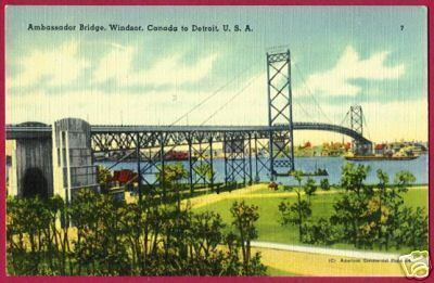 DETROIT MICHIGAN Windsor Ambassador Bridge Linen MI