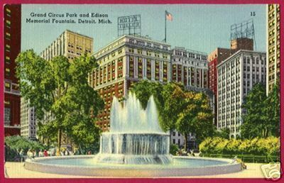 Primary image for DETROIT MICHIGAN Grand Circus Pk Edison Ftn Linen MI