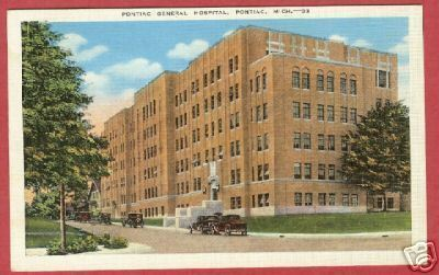 Primary image for Pontiac MI Hosptial Linen Postcard Michigan BJ