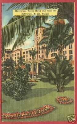 Hollywood Beach FL Hotel Gardens Linen Postcard BJs