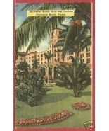 Hollywood Beach FL Hotel Gardens Linen Postcard BJs - $6.00