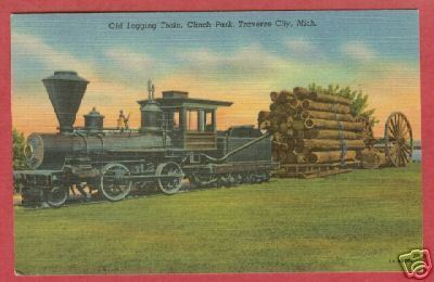 Traverse City MI Train Clinch Park Linen Postcard BJs