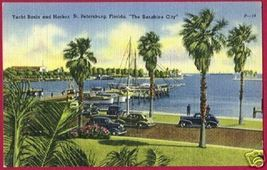 ST PETERSBURG FLORIDA Yacht Basin Cars Linen FL - $6.00