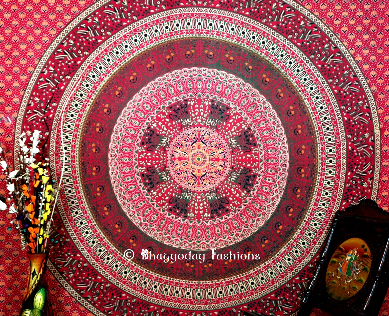Twin mandala hippie tapestry throw bedding in red color tapestries - Spots of color in the bedroom linens and throws ...