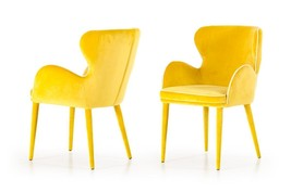 Dining Chair Set 2Pcs Yellow Fabric VIG Modrest Tigard Modern  - $779.00