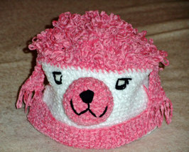 Pink and White Poodle Dog Hat for Children - Animal Hats - Large - $16.00