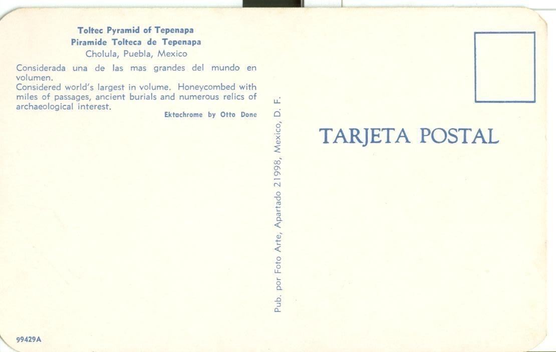 Mexico, Toltec Pyramid of Tepenapa, Cholula, Puebla, unused Postcard