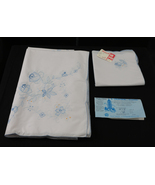 Vintage Peacock Floral Tablecloth & 8 Matching Napkins-9 Piece Set-New w... - $39.99
