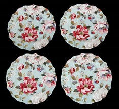 4 ORIANA TEAL Shabby Bright Spring Floral 222 Fifth Scalloped Salad Plates NIB - $48.99