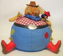 Halloween Pumpkin Cowboy Scarecrow Plush Decor Accent - $34.99