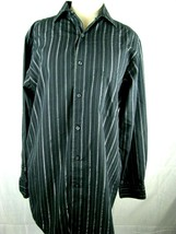 Mens Stretch Fabric Fitted Button Down Sz M 17 32-33 Long Sleeve Shirt A... - $14.80