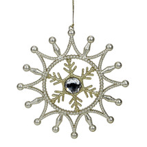 "5.5"" Gold Shimmering Snowflake A With Silver and Clear Gem Christmas Orn... - $6.67"