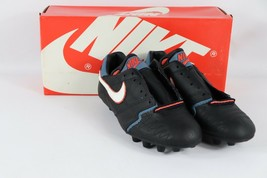 Vintage 80s New Nike Mens 5.5 Rio M Soccer Shoes Cleats Boots Black Blue... - £97.01 GBP