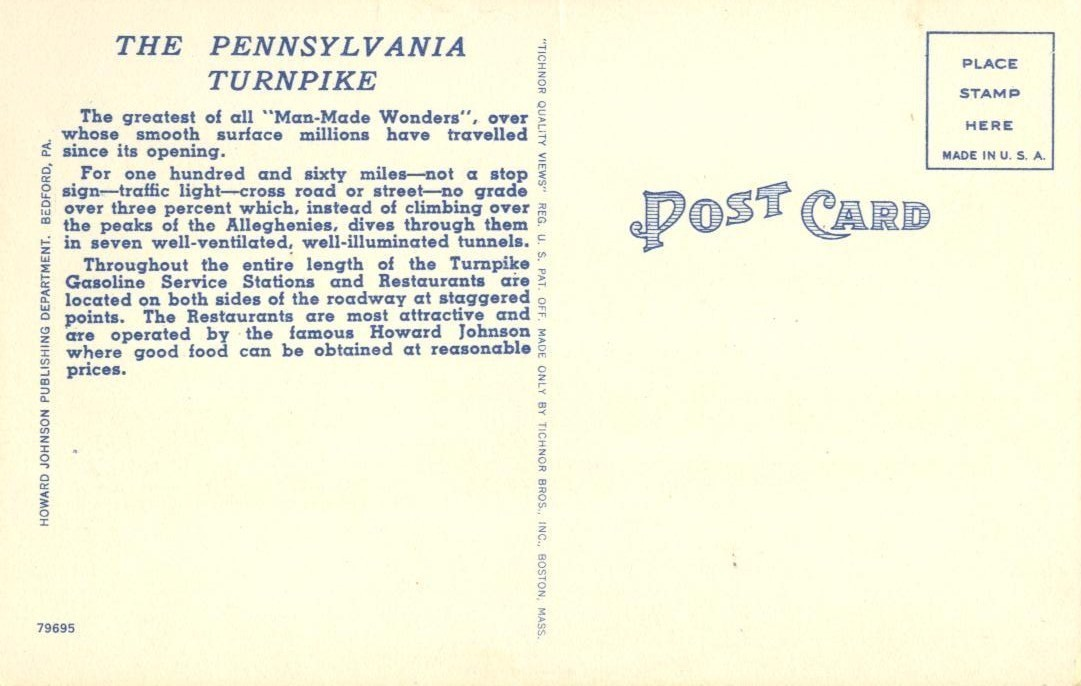 The Midway on America's Super Highway, The Pennsylvania Turnpike, linen Postcard