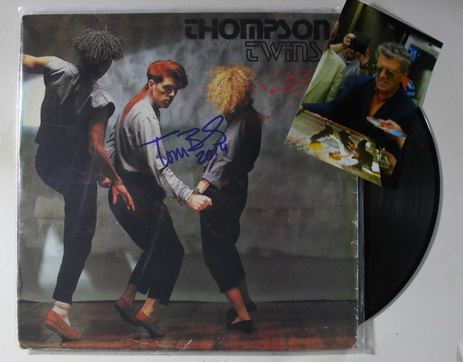"Primary image for Tom Bailey Signed Autographed ""Thompson Twins"" Record Album w/ Proof Photo"