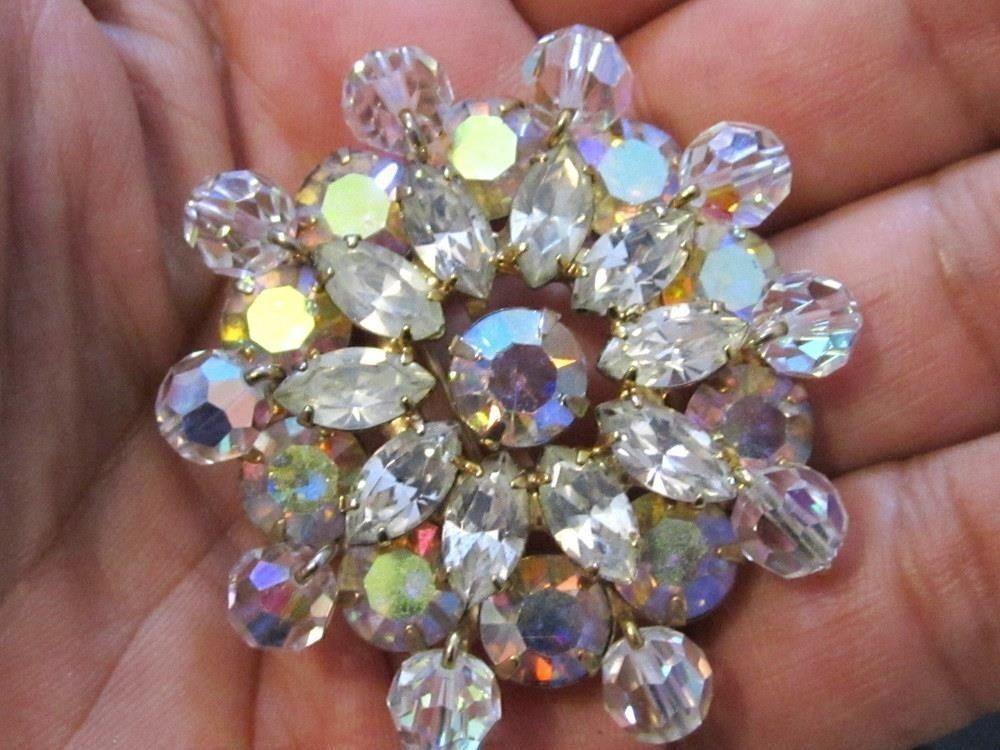 High End Large Ab Rhinestones & Crystal Starburst Vintage Pin Brooch*189D