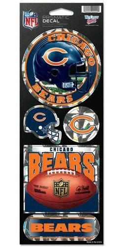 CHICAGO BEARS PRISMATIC HOLOGRAPH STICKER DECAL SHEET OF 5 NFL FOOTBALL
