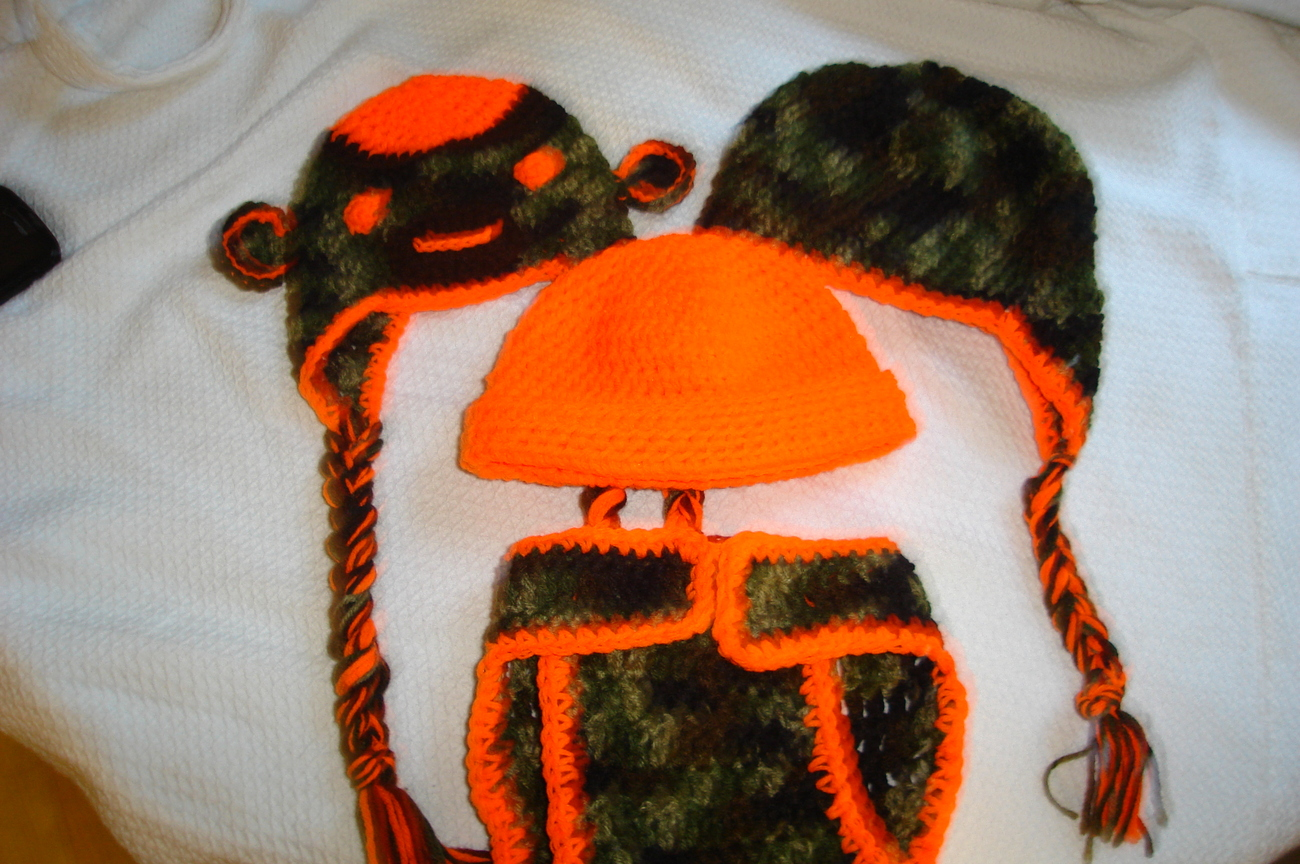 "Hand crocheted ""Little Hunter"" camo set for infant/photography prop"