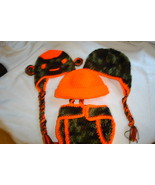 "Hand crocheted ""Little Hunter"" camo set for infant/photography prop - $30.00"