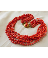 """Vintage Coral Color Celluloid multi strand  beaded necklace 23""""L - $84.15"""
