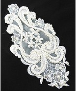 Lace applique Venetian bridal lace and beads white patch vintage - $7.91