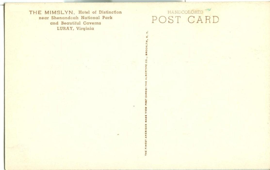 The Mimslyn, Hotel of Distinction, Luray, Virginia, early 1900s unused Postcard