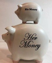 "PIGGY BANK His Her Money Coin Ceramic by ""C. M. Redwine"" - $29.69"