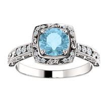 Antique Filigree Halo Diamond & Aquamarine 14K White Gold Engagement Ring - £634.47 GBP