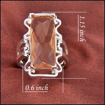 Pale Iced Fire Rectangle Morganite Baguette Filligree Silver Plated Ring image 2