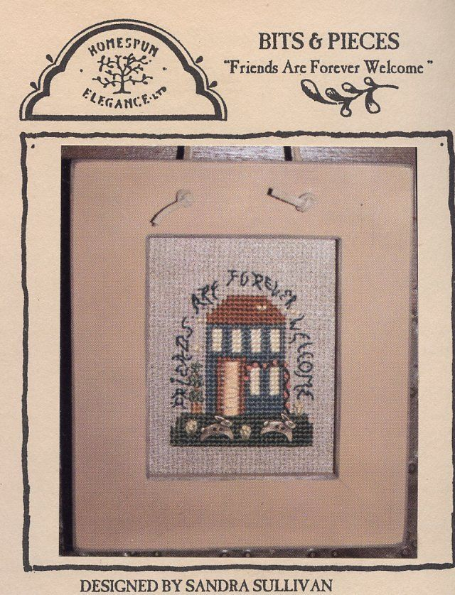 Friends Are Forever Welcome Homespun Elegance Cross Stitch Mini Pattern NEW RARE - $4.02