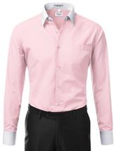 Berlioni Italy Men's Classic Standard Convertible Cuff Pink Dress Shirt - LARGE image 2