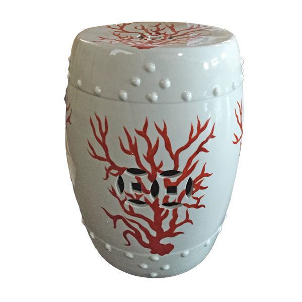 57. 57. WHITE U0026 CORAL RED GARDEN STOOL, Ceramic ...