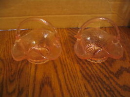 Vintage Pink Art Glass Individual Candy or Nut Baskets - $18.69