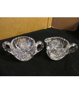"Vintage Lead Crystal "" Whirling Star with Saw-Toothed Rim "" Creamer & Su... - $37.39"