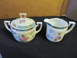 "Vtg. Bavarian ""Hand Painted Pink & White Rose"" Creamer &  Sugar Bowl Wit... - $30.84"