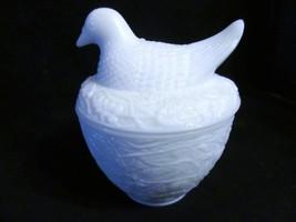 Vintage Avon Milk Glass Bird on Nest Candle Holder - $23.36