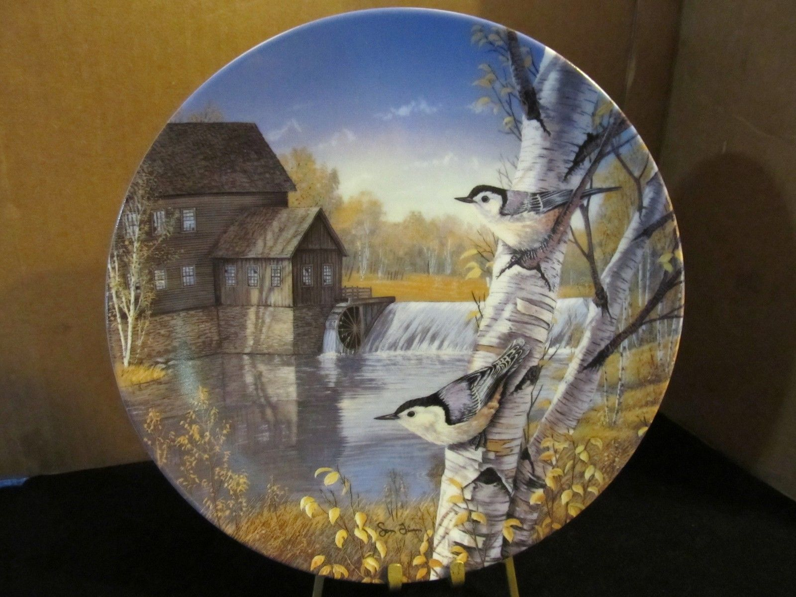 "Sam Timm's Birds of the Seasons "" Nuthatches in Fall "" Collector Plate"
